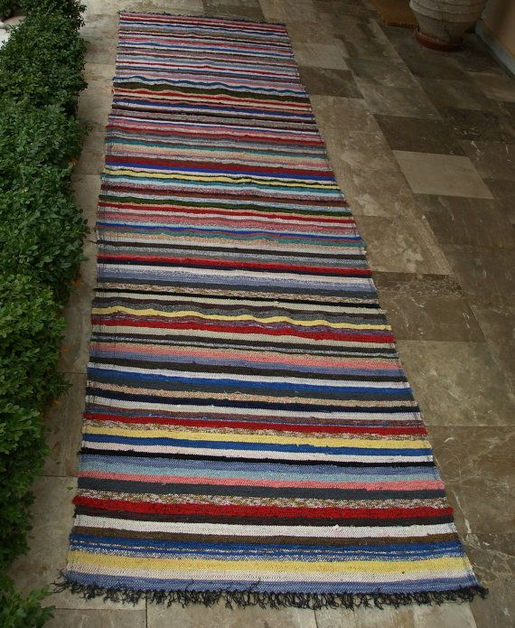 Bleus, Yellows, Greens Reds...... Vintage Rag Rug Extra Long  Blues Yellows by VintageHomeStories,