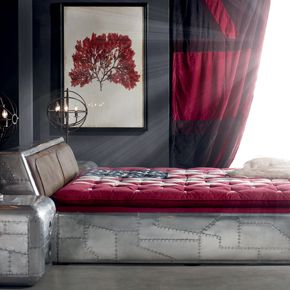 Timothy Oulton Aviator Tomcat bed frame in spitfire and leather ribbed headboard