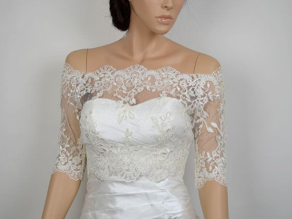 Off-Shoulder ivory Alencon Lace bolero jacket dot  lace $109.99 by alexbridal