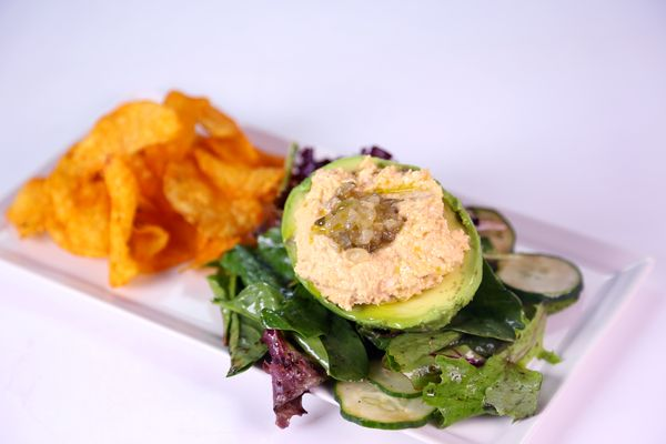 Stuffed Avocado with Tuna Salad Wrap by Daphne Oz   replace mayo with greek yogurt & squeeze of lime