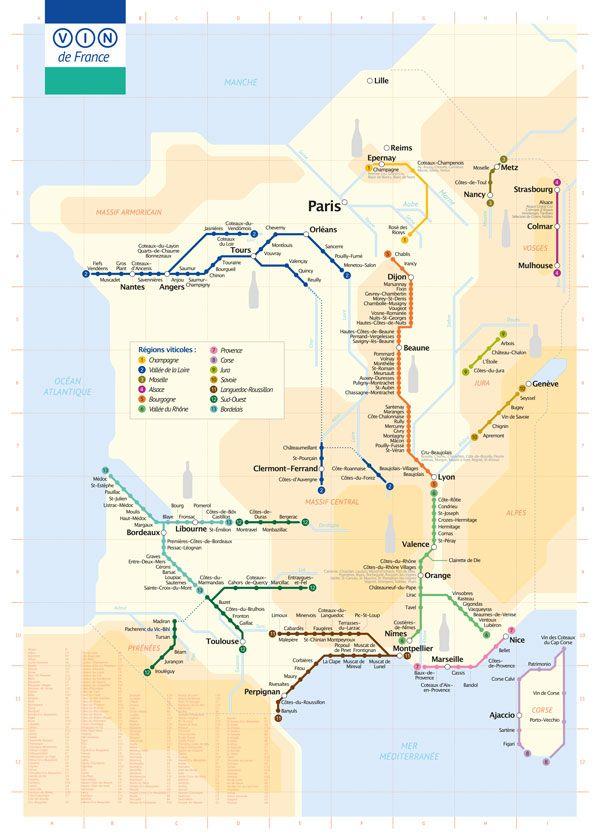 Plan de métro du Vignoble français