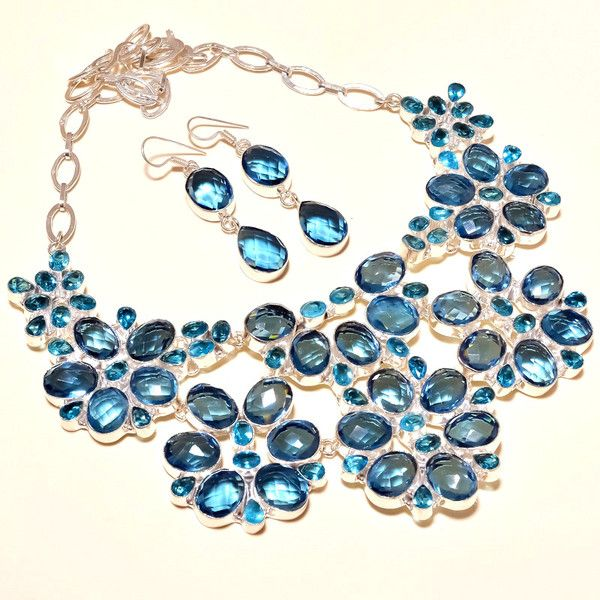Charm Necklaces – Silver Swiss Blue Topaz Necklace With Dangles Ear – a unique product by IndianCraftPalace on DaWanda