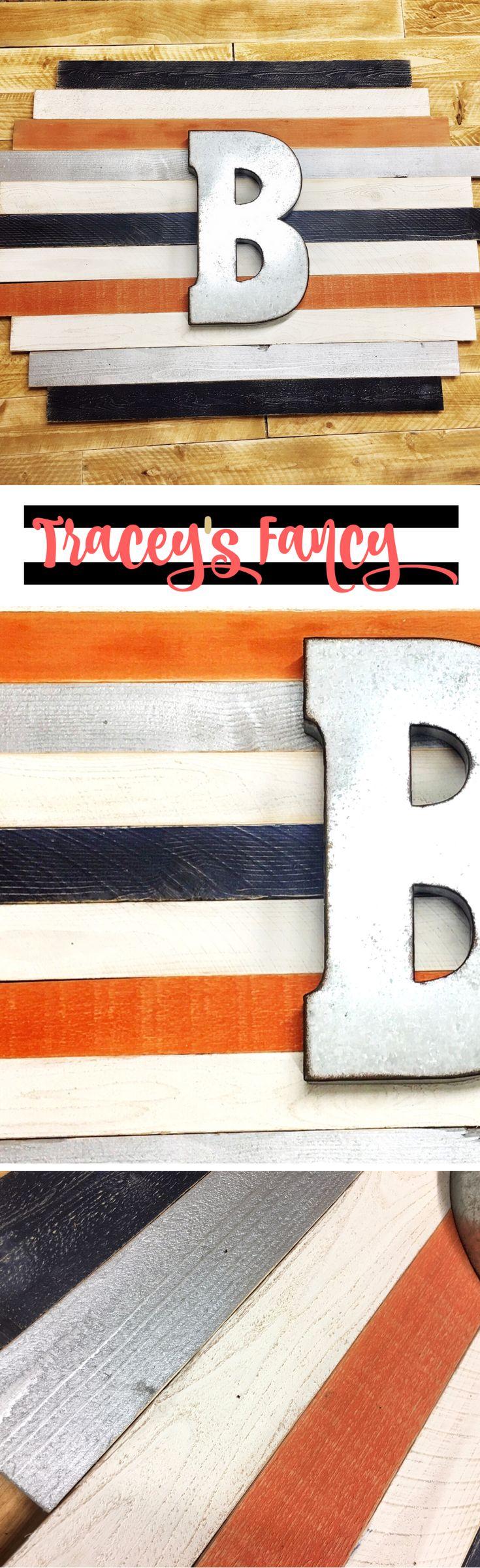 Boys Nursery Wall Art | Boys Bedroom Ideas | Wood Plank Wall Art in Orange, Navy & Silver | Nursery Art by Tracey's Fancy