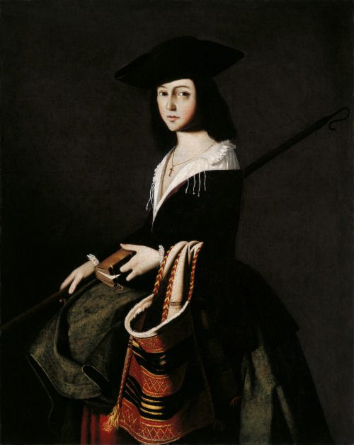 St Marina (c.1640-1650. Francisco de Zurbarán(Spanish,1598-1664). Oil on canvas. Museo Carmen Thyssen Málaga.Using fairly tight, compact brushwork, Zurbarán lends brilliance to the colours and sharpens the contours by silhouetting the body against a dark background with an intense source of light that emphasises the flesh tones. St Marina wears a wide-brimmed hat and an white chemise with a frilled collar, bodice, skirt and overskirt. She holds a long rod, possibly an allusion to her…