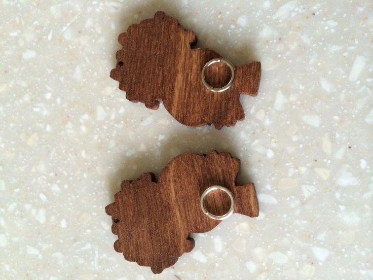 Afro puff wood studs