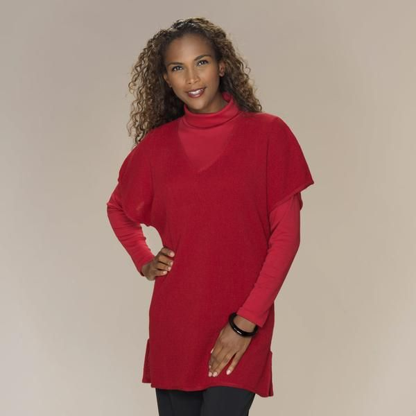 Gianna baby alpaca links knit v neck tunic cranberry red