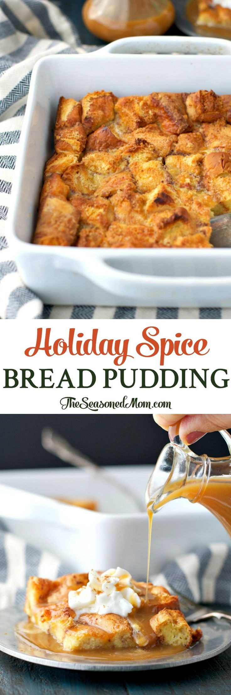 Holiday Spice Bread Pudding is an easy dessert that's ready with only 10 minutes of prep, and it will fill your house with the cozy aroma of the season! #CookbookContest #MorethanaMeal #ad @potatorolls