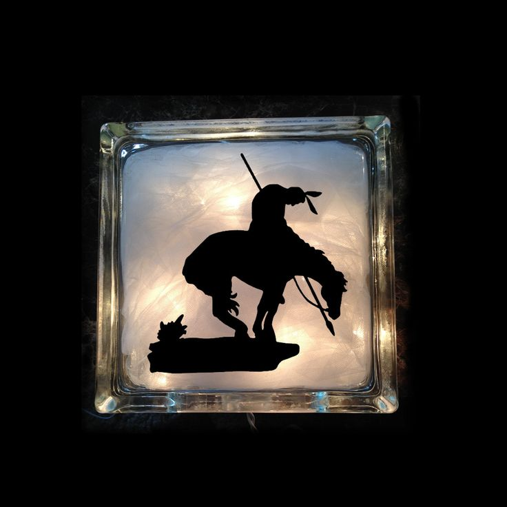 End of Trails - Rodeo Night Light, Western Lighted Glass Block - - Indian Light - End of Trails Light - GB-1012 by VinylDzines on Etsy