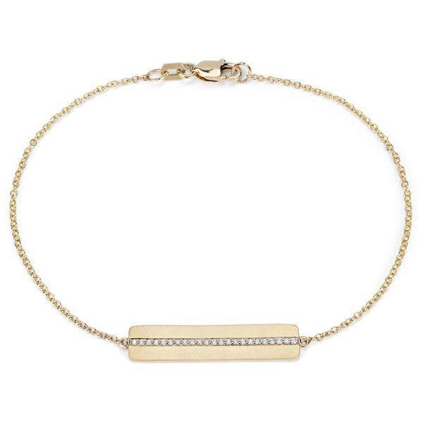 Blue Nile Diamond Bar Bracelet ($370) ❤ liked on Polyvore featuring jewelry, bracelets, blue nile, 14k bangle, diamond jewellery, blue nile jewelry and 14k jewelry