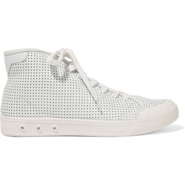 rag & bone - Standard Issue Perforated Leather High-top Sneakers ($125) ❤ liked on Polyvore featuring shoes, sneakers, white, white high top sneakers, leather shoes, white hi top sneakers, white lace up sneakers and leather sneakers