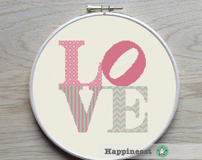 Modern cross stitch pattern LOVE . Fits a 11 inch embroidery hoop (if stitched on 14 count aida) The pattern comes as a PDF file that youll will be able to download immediately after purchase. In addition the PDF files are available in you Etsy account, under My Account and then Purchase after payment has been cleared. You get a pattern in colorblocks and symbols, a pattern in black and white symbols, and a list of the floss colors youll need. You also get an PDF file with cross stitch…