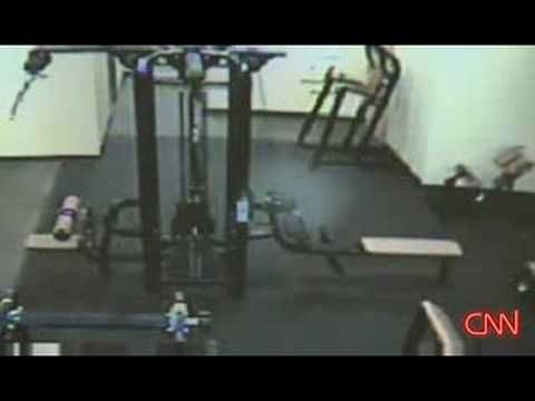 Ghost in Gym is caught on security cameras and played on CNN....
