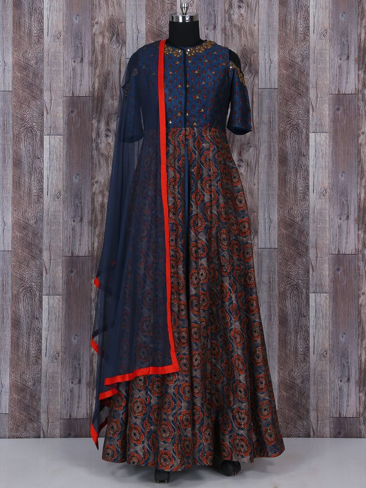 Printed Navy Silk Long Anarkali Suit