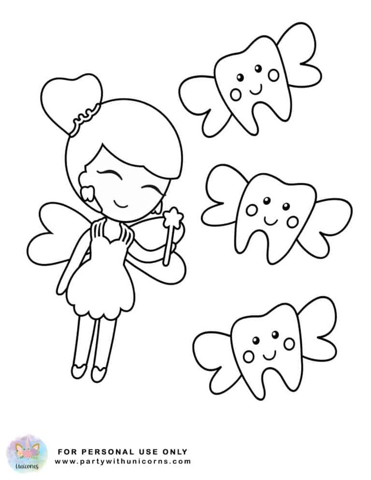 Tooth Fairy Coloring Pages - Free Download in 2020 | Tooth ...