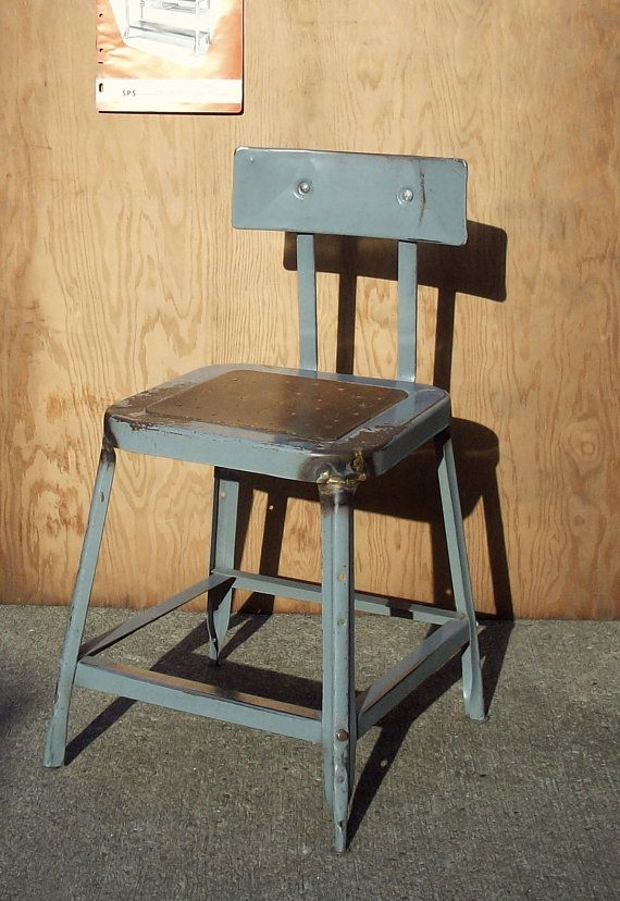 Vintage Industrial Metal Factory Shop Stool Chair / Distressed Worn / Gray