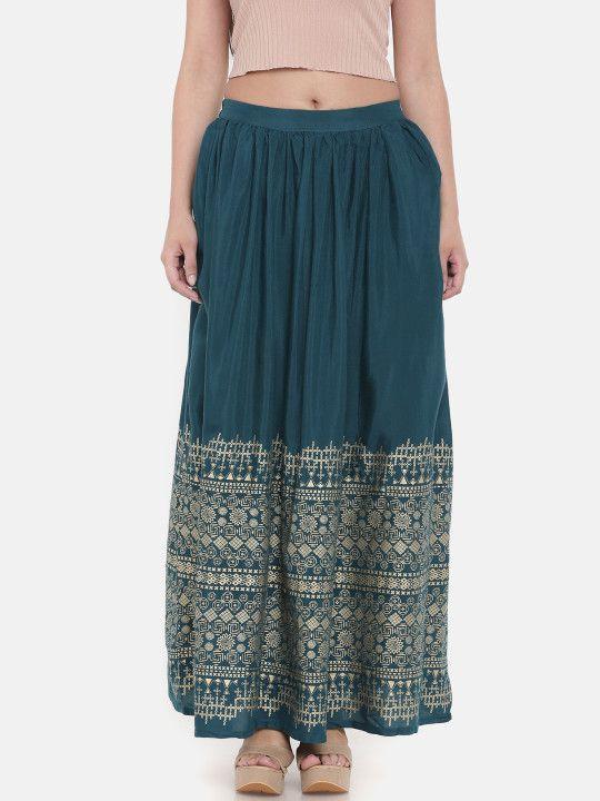 67b54c8d8b Global Desi Women Teal Blue Printed A-Line Maxi Skirt -   799 ...