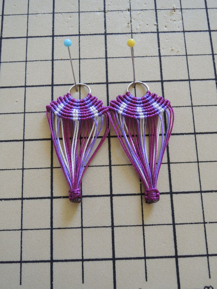 Boucles d'oreilles Montgolfière en micro macramé presque terminées Cha'perli'popette - créatrice belge de bijoux artisanaux https://www.facebook.com/chaperlipopettebijoux http://www.alittlemarket.com/boutique/cha_perli_popette-951481.html