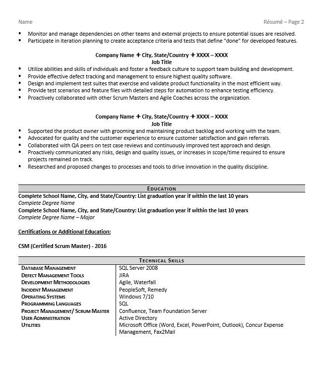 Scrum Master Resume Example Tips For 2018 Zipjob Scrum Master Resume Skills Resume Examples