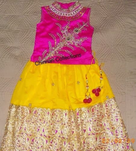 Indian Dresses: Cut Work Kids Skirt in Yellow