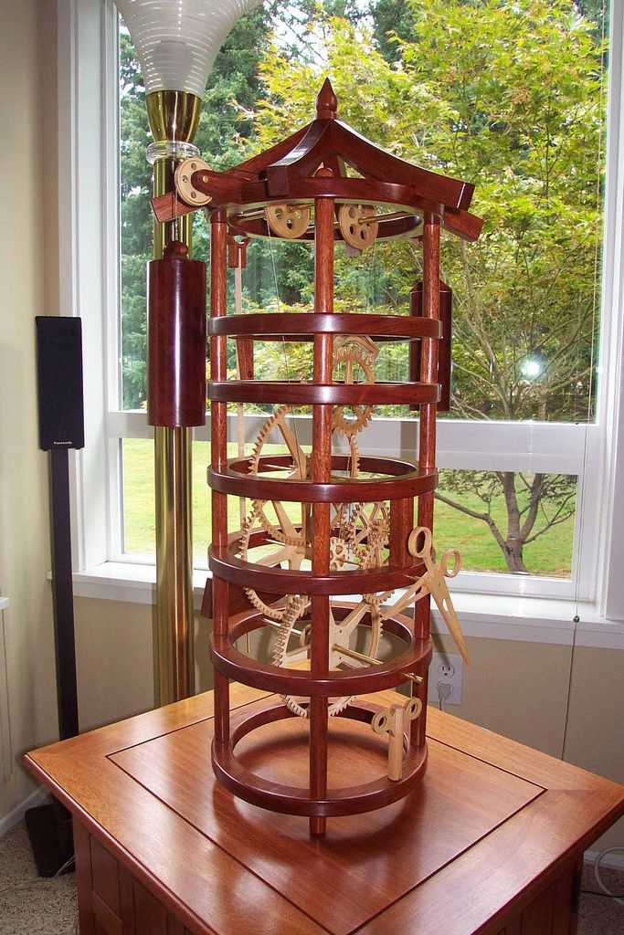Wooden gear tower clock made of Brazilian