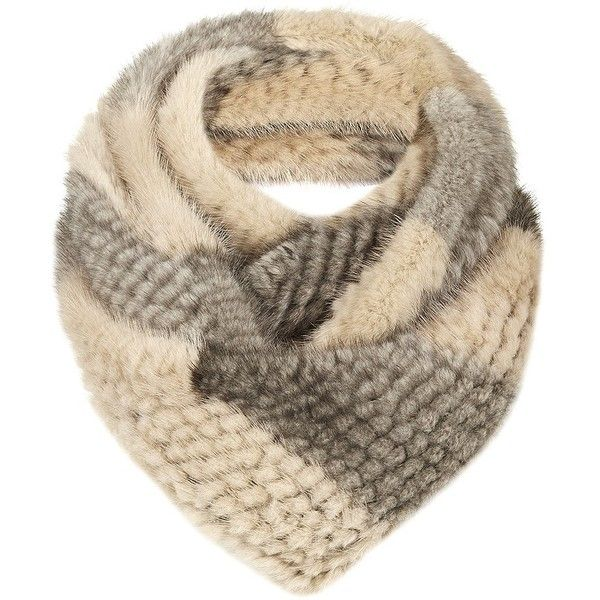 Yves Salomon's fur accessories are a winter essential. This loop scarf is knitted in plush mink fur with a striped pattern.