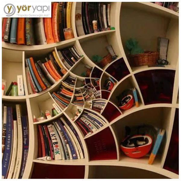 Baş döndürücü bir kitaplık tasarımı görmek ister misiniz? :) #bookshelves #kitaplık #decoration #design #unique #ilginçtasarımlar #tasarım #dizayn #dekorasyon