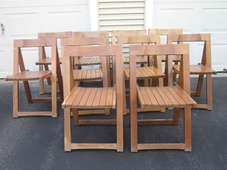 Lot of 10 Aldo Jacober Beech Folding Wood Chairs Dining Outdoors Patio  #WoodbridgeHomeDesigns #midcentury