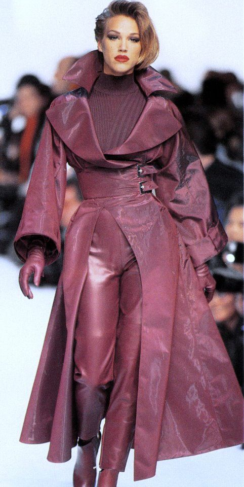 Lovely leather coat and pants outfit in luscious color. Would love to wear this.