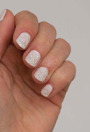 Isadora Glamour White + Nail Glitter nail art