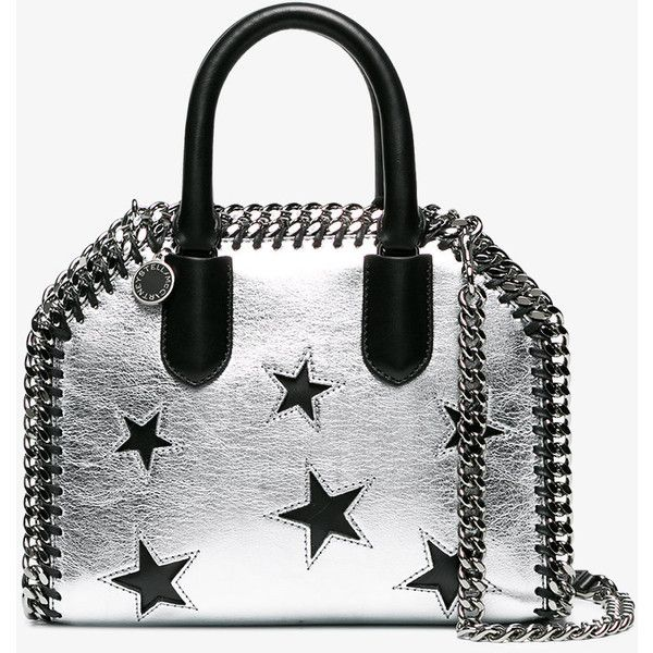 Stella Mccartney Silver Falabella Star Shoulder Bag ($1,375) ❤ liked on Polyvore featuring bags, handbags, shoulder bags, metallic, white purse, stella mccartney handbags, silver purses, metallic purse and silver handbags