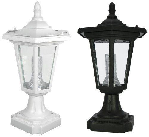 Zexum Black Traditional Driveway Pillar Lamp: PP09 Solar 'Coach' Lantern Pillar / Column / Pedestal
