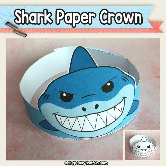 Shark Paper Crown Hat Printable Shark Hat Crown For Kids Shark