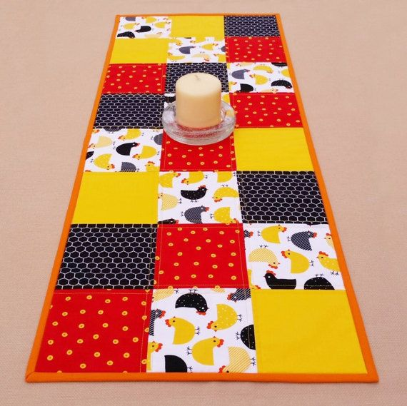 Chicken Table Runner: modern farmhouse quilted table runner by TeriMadeIt