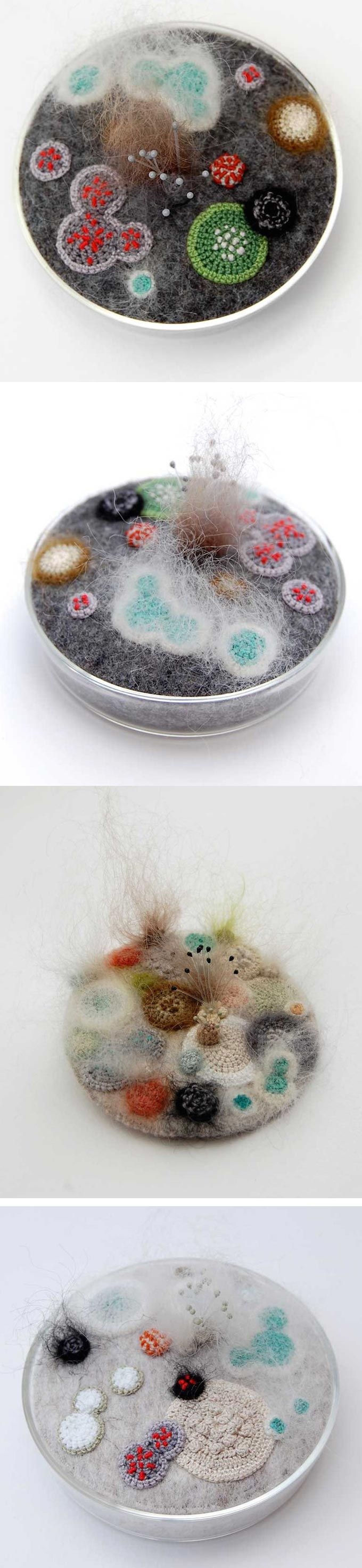 Elin Thomas uses a combination of embroidery thread, crochet, and needle felting to create soft and cuddly mold.