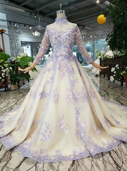 Champagne Tulle Purple Appliques High Neck Long Sleeve Wedding