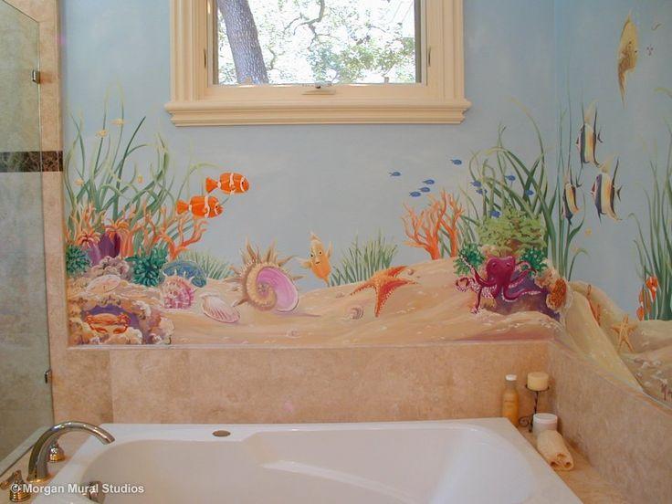 Ocean Floor Bathroom Mural Close Up