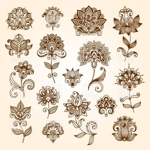 Henna Mehndi Vector Free : Collection of mehndi style ornamental flowers tracery