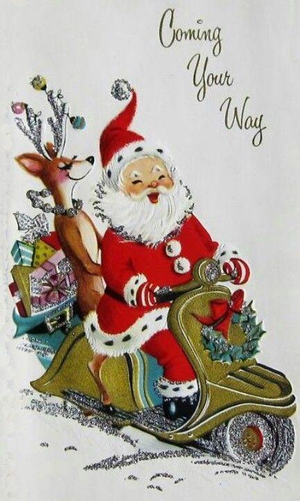 Vintage Santa / motorcycle - Retro Christmas card Source: Peregrina Cultural                                                                                                                                                                                 Mais