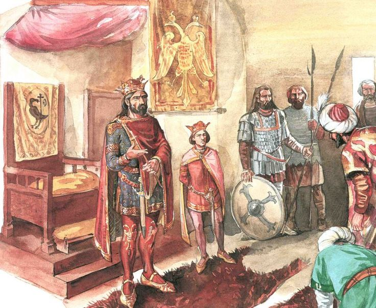 Wallachian Voivode Mircea the Elder welcoming Musa. XIV century. By Radu Oltean. From the book Mircea cel Batran