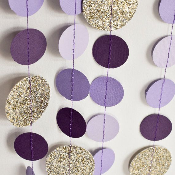 Purple Gold 10ft Paper Garland Birthday Party Decor Wedding Shower Nursery