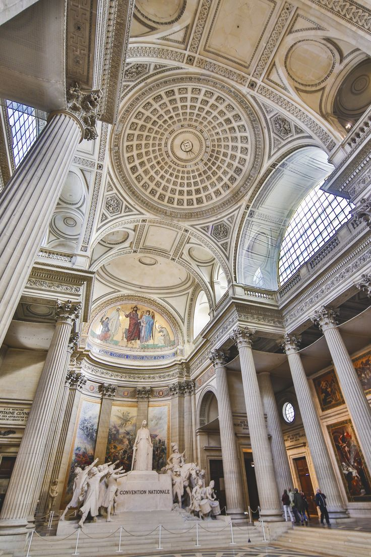 For Paris's Panthéon, modeled after the original in Rome, architect Jacques-Germain Soufflot embellished a classical structure with Gothic detailing. Though it originally served as a church, the building now acts as a burial place for notable French citizens.