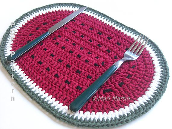 omg sometimes i channel Martha Stewart!! i want to make a set of fruits and a set of veggies, and gourds, and cats...  Watermelon Crochet Placemat Pattern - MariMartin