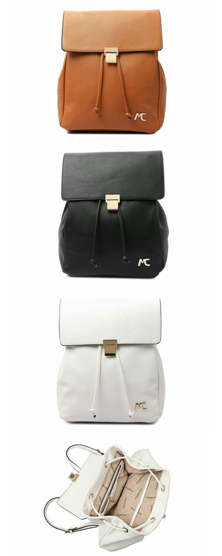 4c23a8af7 Bolsa Macadamia BIanchi Branca Mochila de Costas Elegante e estilosa.  pequena trabalho couro bege escola