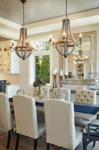 """Dining Room Lighting. Dining room chandelier is """"Wooden Wine Barrel Strave Chandelier"""" in Stormy Gray from Shades of Light. Affordable lighting for dining room."""