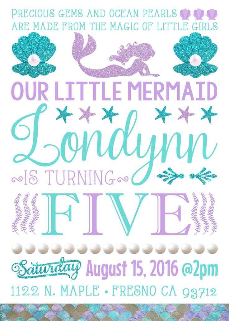 25 best ideas about Mermaid birthday invites – Invites Birthday Party