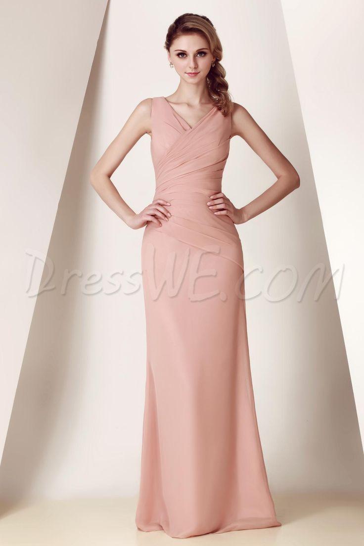 Dresswe.comサプライ品エレガント シャーリング Vネック フロアレングス ダーシャのウエディングドレス ブライドメイドドレス 大きいサイズ