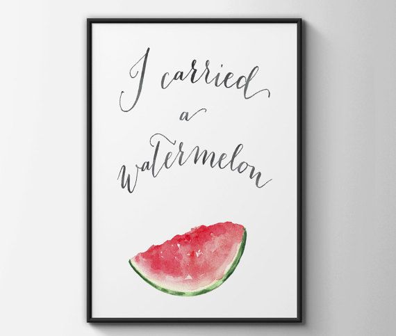 I carried a watermelon - the classic line from the iconic Dirty Dancing film. This adorable print in a modern typographic style is illustrated with a mouth-watering slice of watermelon in a beautiful watercolour style. It would make a great gift for any Dirty Dancing fan, or just a great way to add a pop of colour to your decor.  Please select your size from the drop down menu:  Available in the following sizes: 8 x 10 inches A4 (11.7 x 8.3 inches) 11 x 14 inches A3 (16.5 x 11.7 inches)  If…