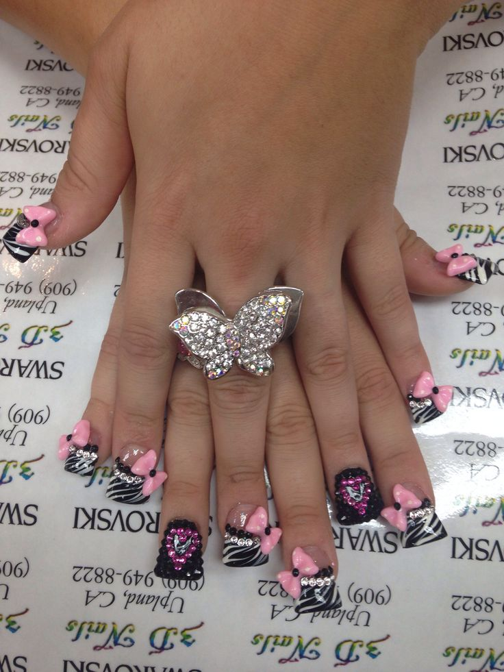 3d nails upland - these are my current and favorite nails ever !!! Zebra bow duckfeet pink black heart bling swarovski