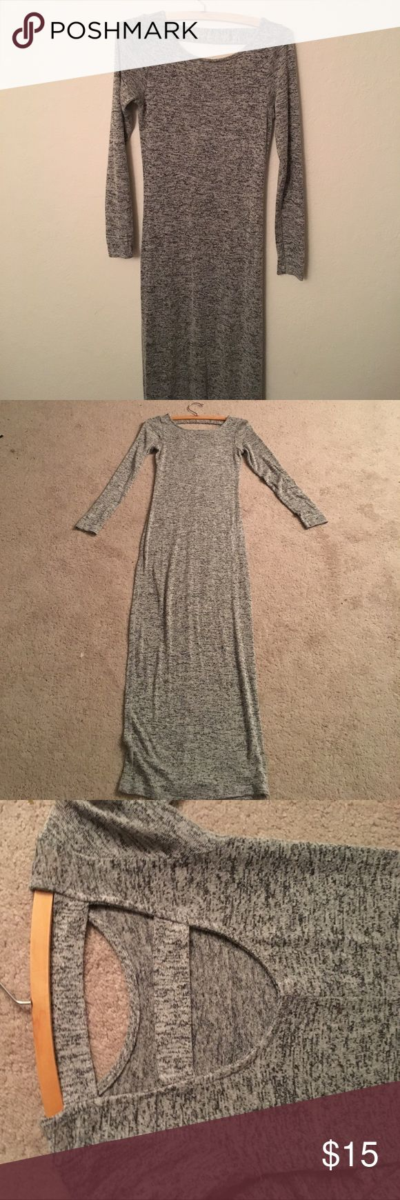 Skintight heather grey maxi dress Skintight heather gray knit maxi dress with a cool back. Barely worn. Long sleeve. Dresses Maxi