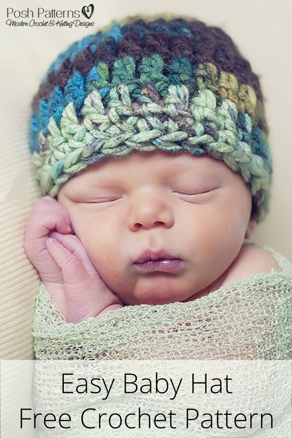 0bea35e8c2f Free Crochet Hat Pattern - Get this cute baby hat crochet pattern for FREE  when you sign up for Posh Patterns updates!